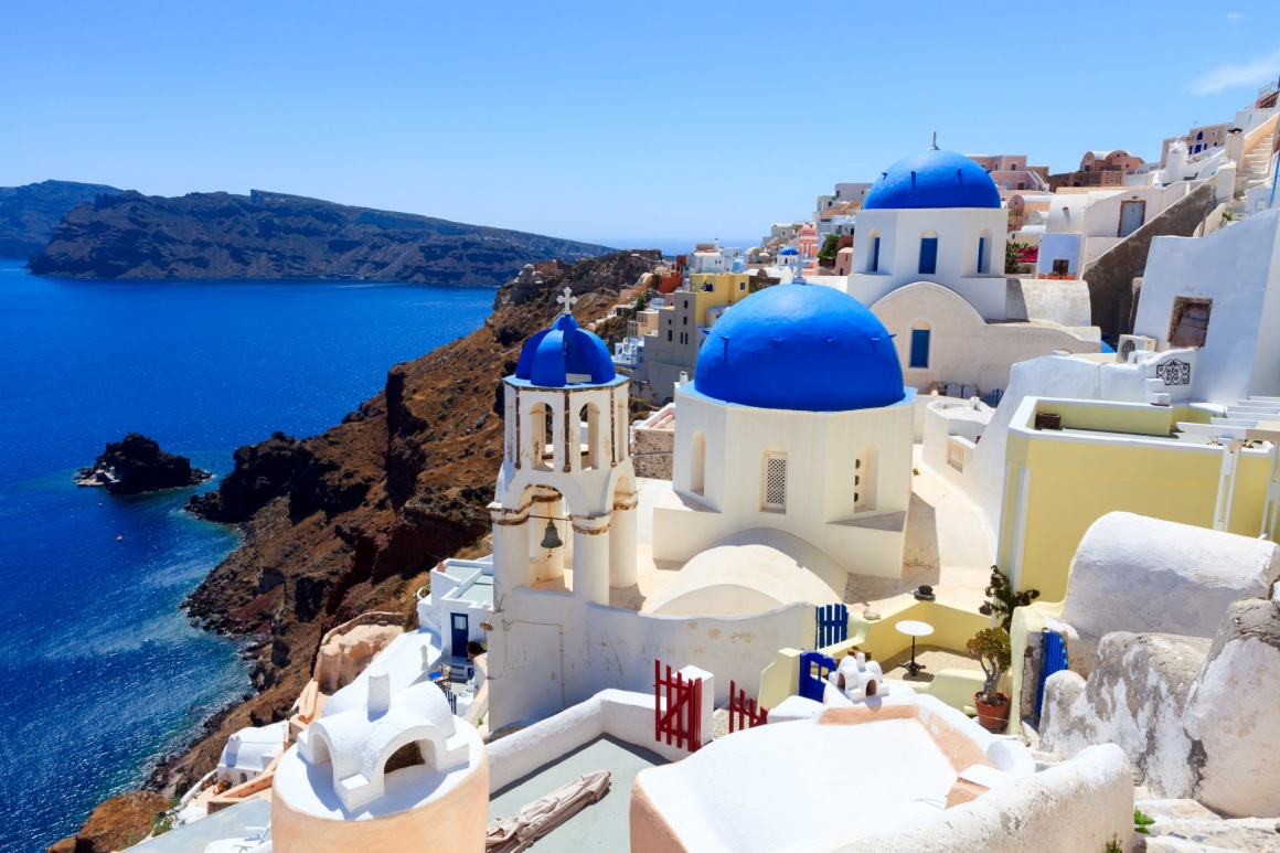 'Blue domed church at Oia Santorini Greece Europe' - Santorini